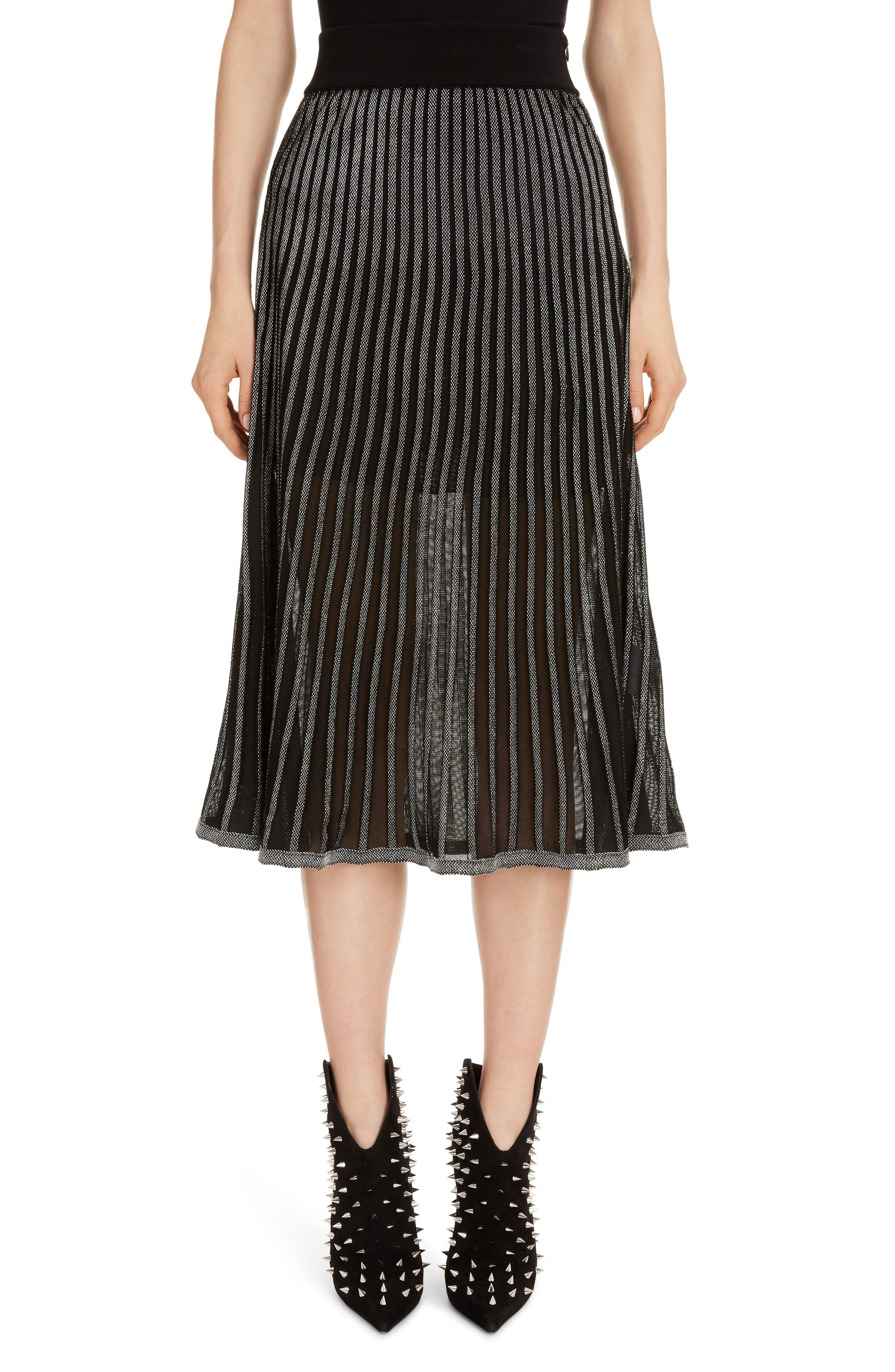 Balmain Skirts Semi Sheer Metallic Pleated Skirt