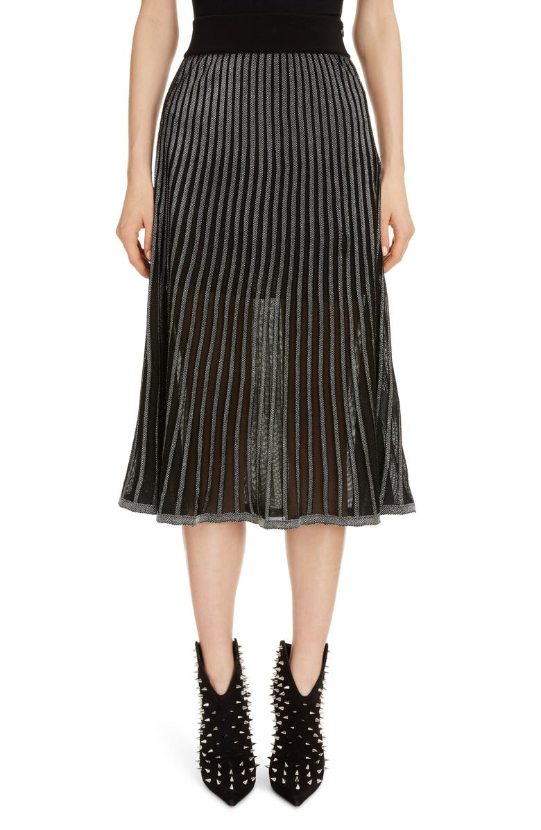 BALMAIN Semi Sheer Metallic Pleated Skirt, Main, color, EAC NOIR/ ARGENT