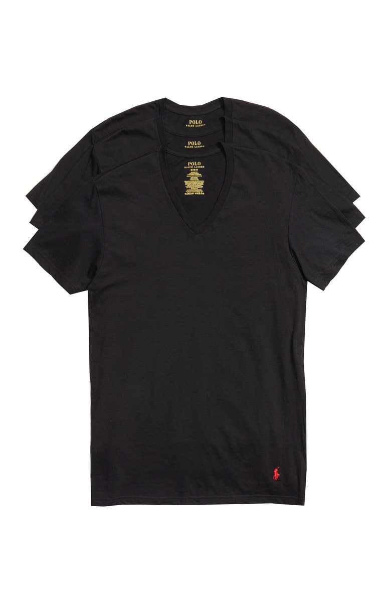 POLO RALPH LAUREN 3-Pack V-Neck T-Shirts, Main, color, POLO BLACK