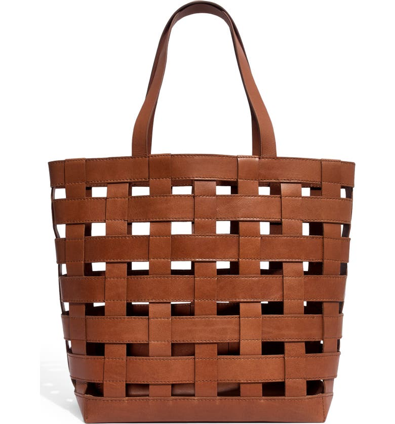 MADEWELL Medium Transport Basketweave Leather Tote, Main, color, 200