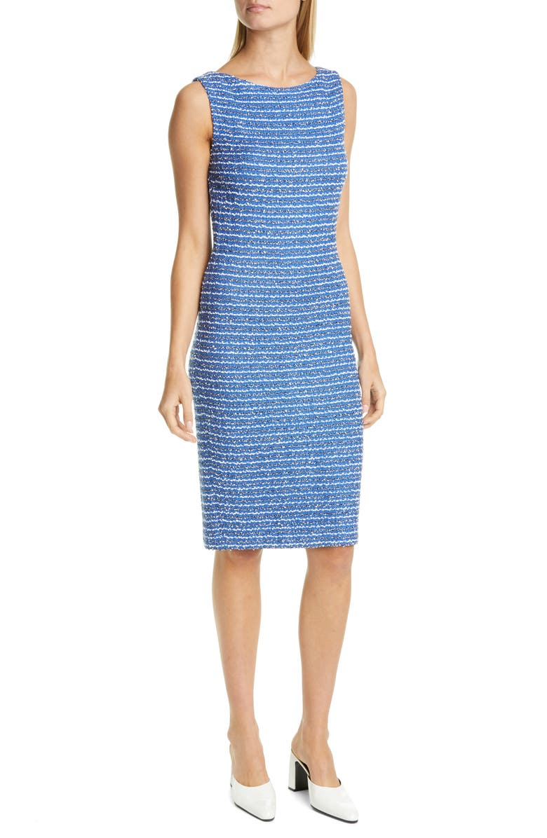ST. JOHN COLLECTION Butterfly Ribbon Tweed Knit Sheath Dress, Main, color, OASIS MULTI