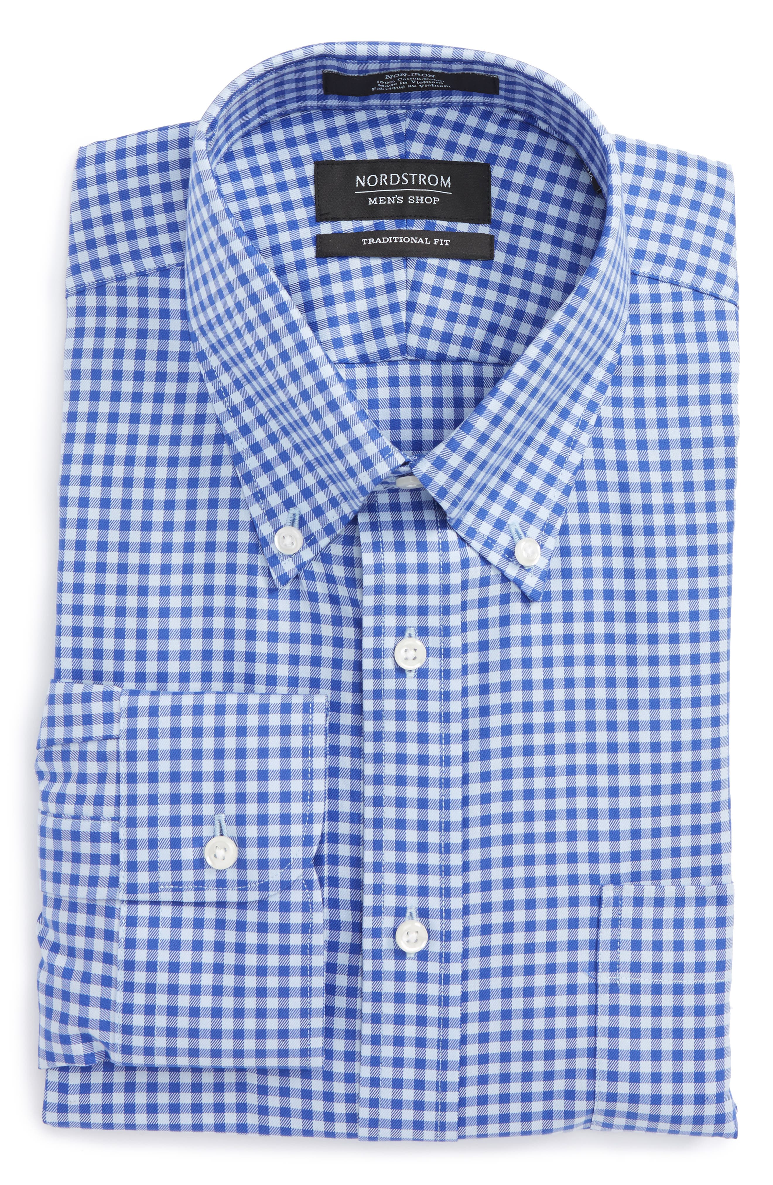 ,                             Traditional Fit Non-Iron Gingham Dress Shirt,                             Main thumbnail 58, color,                             422