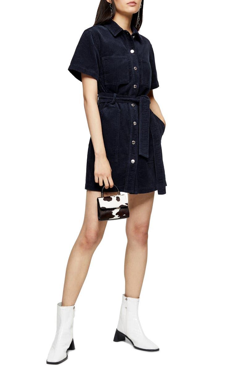 TOPSHOP Corduroy Minidress, Main, color, 411