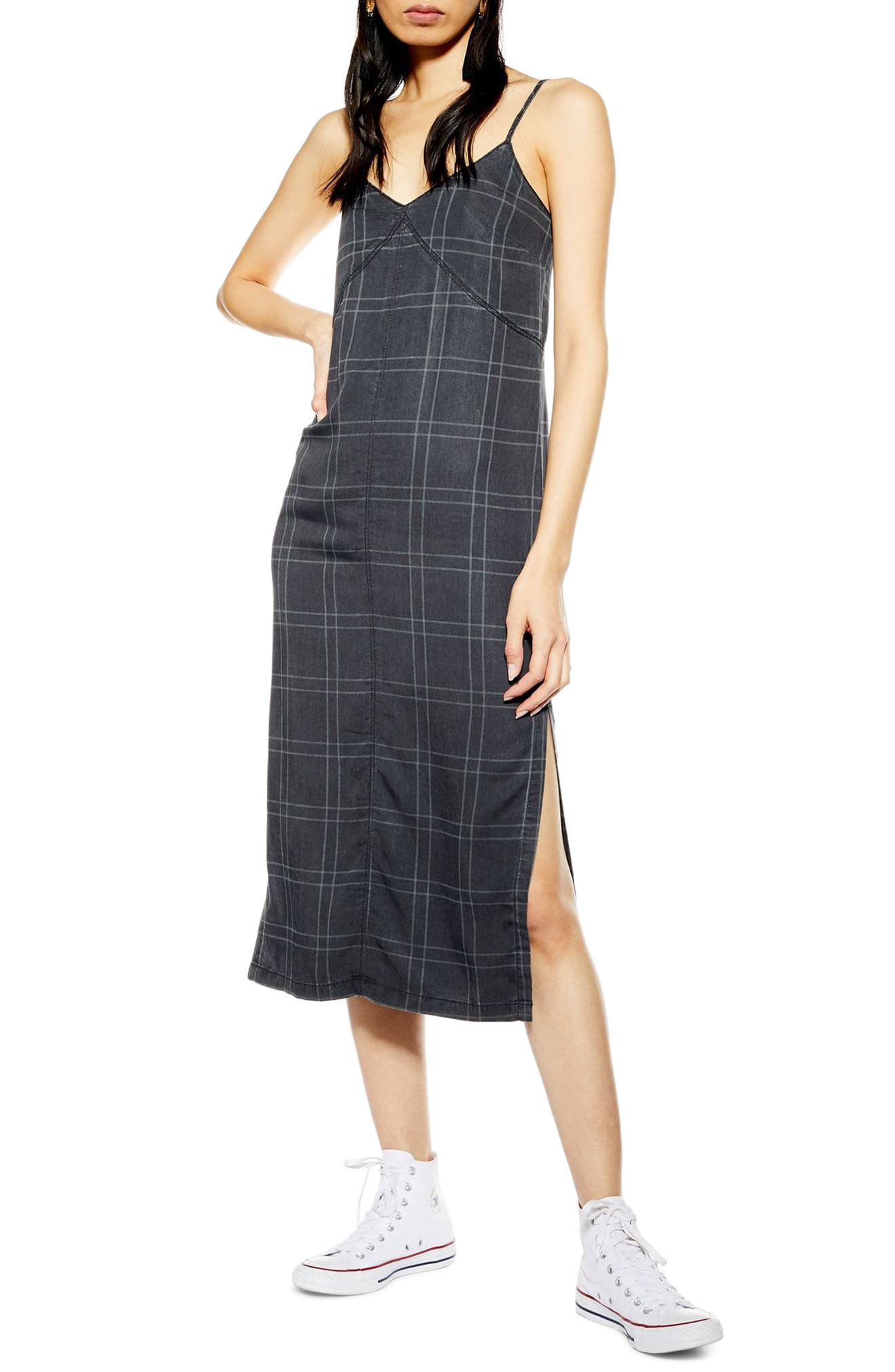 Topshop Check Denim Midi Dress, US (fits like 0-2) - Black