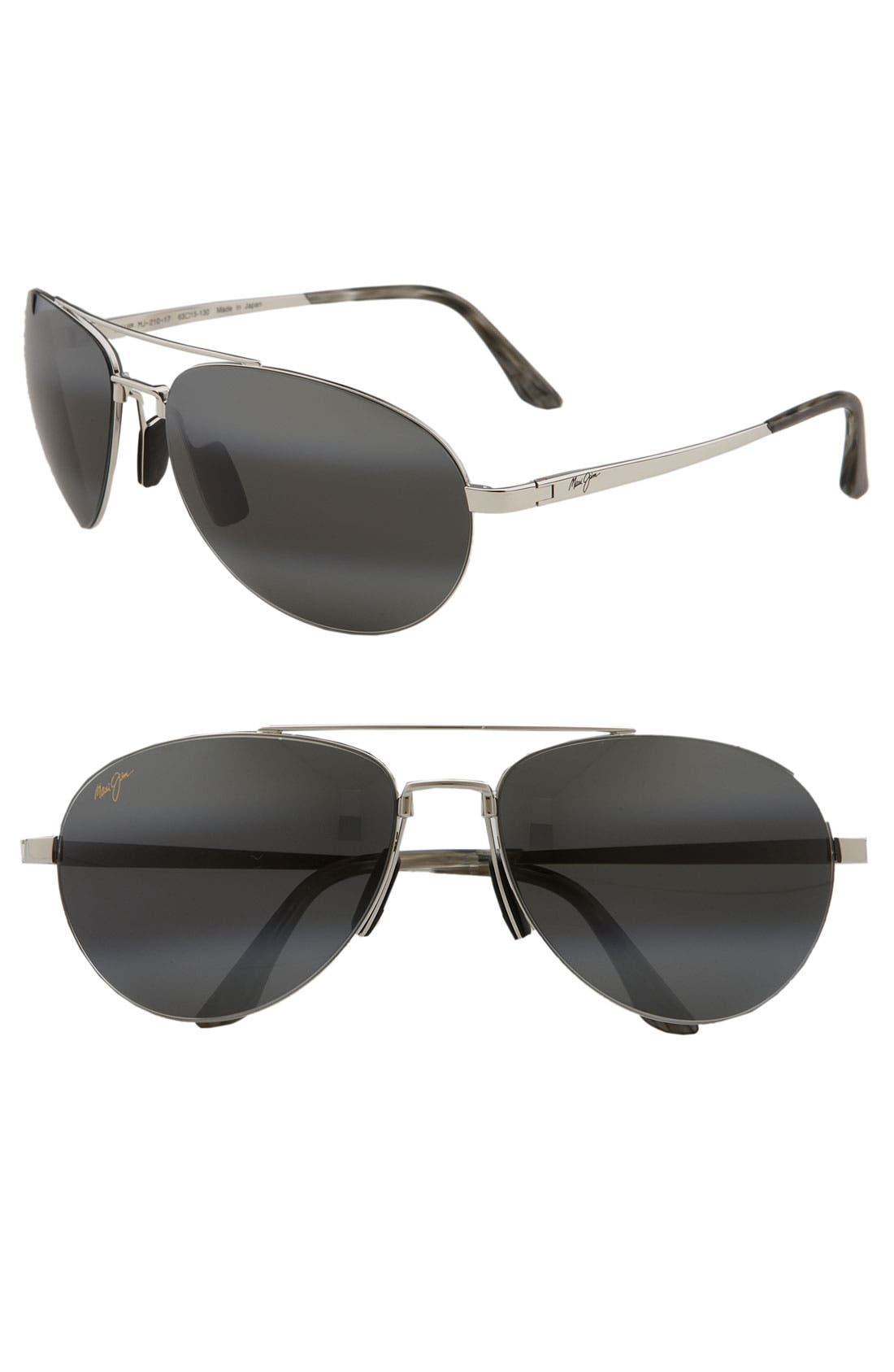 'Pilot - PolarizedPlus<sup>®</sup>2' 63mm Sunglasses, Main, color, SILVER