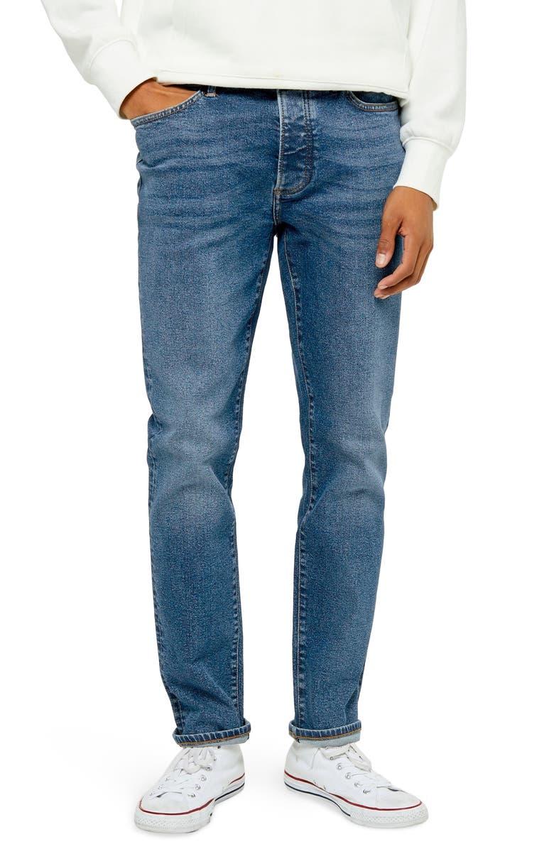 TOPMAN Slim Fit Mid Wash Jeans, Main, color, BLUE