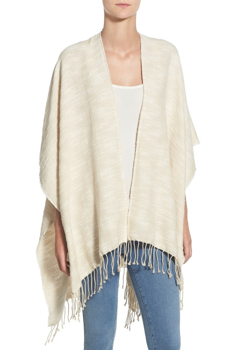 CASLON<SUP>®</SUP> Textured Woven Poncho, Main, color, 100