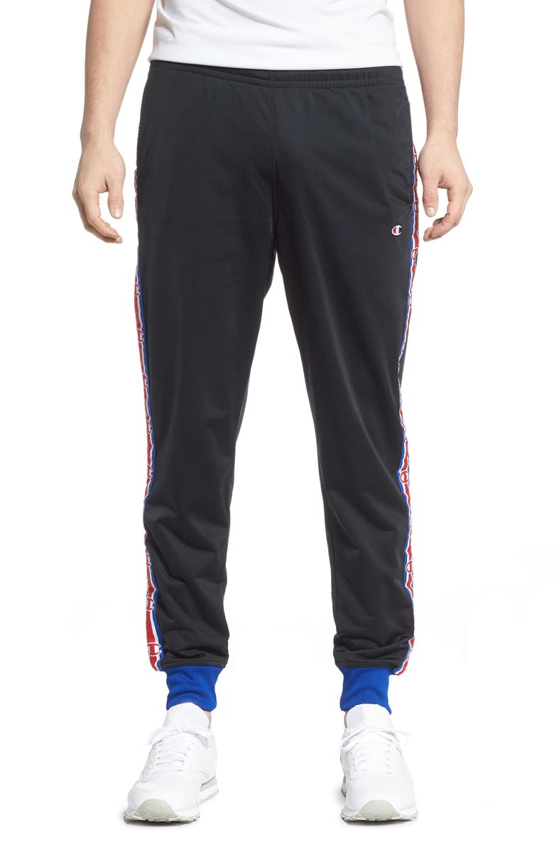 CHAMPION Track Pants, Main, color, BLACK/ SURF THE WEB
