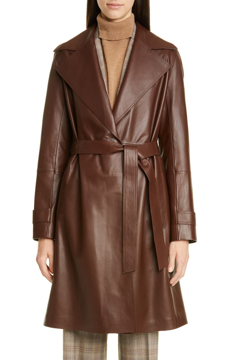 LAFAYETTE 148 NEW YORK Michael Leather Trench Coat, Main, color, DARK RUSSET