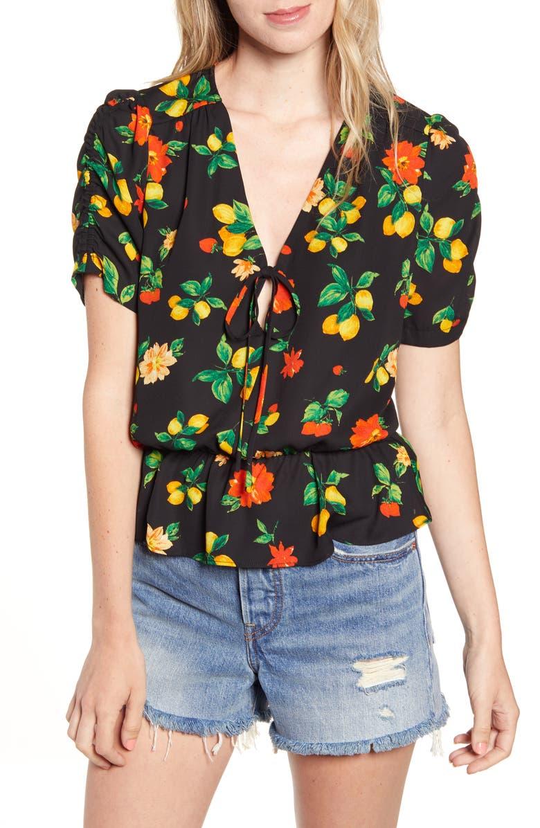 SOCIALITE Print Cinch Sleeve Tie Front Top, Main, color, BLACK LEMON FLORAL