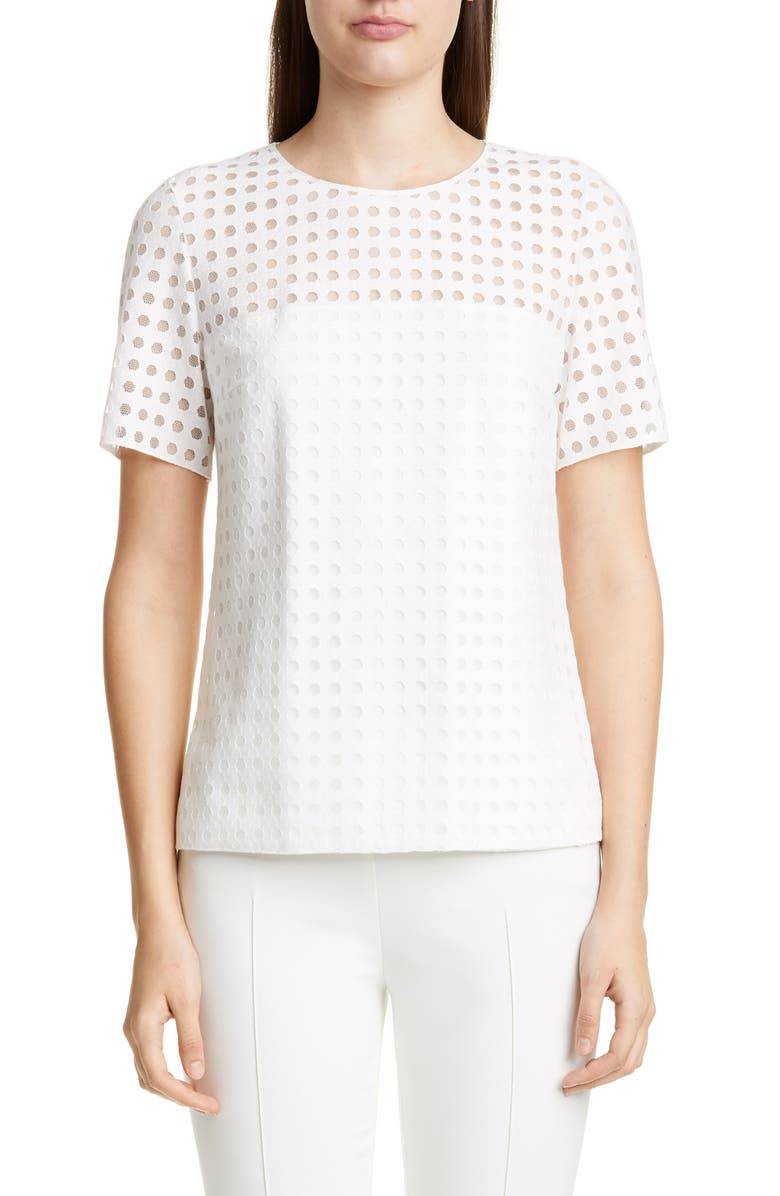 AKRIS PUNTO Dot Mesh Top, Main, color, WHITE