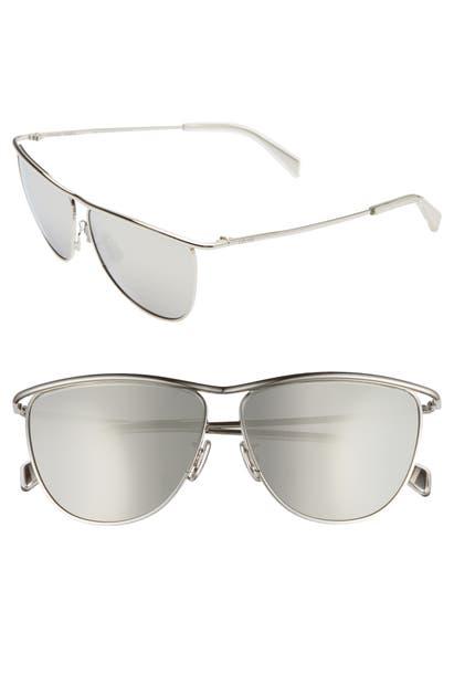 Celine Sunglasses 60MM AVIATOR SUNGLASSES - PALLADIUM/ SMOKE MIRROR