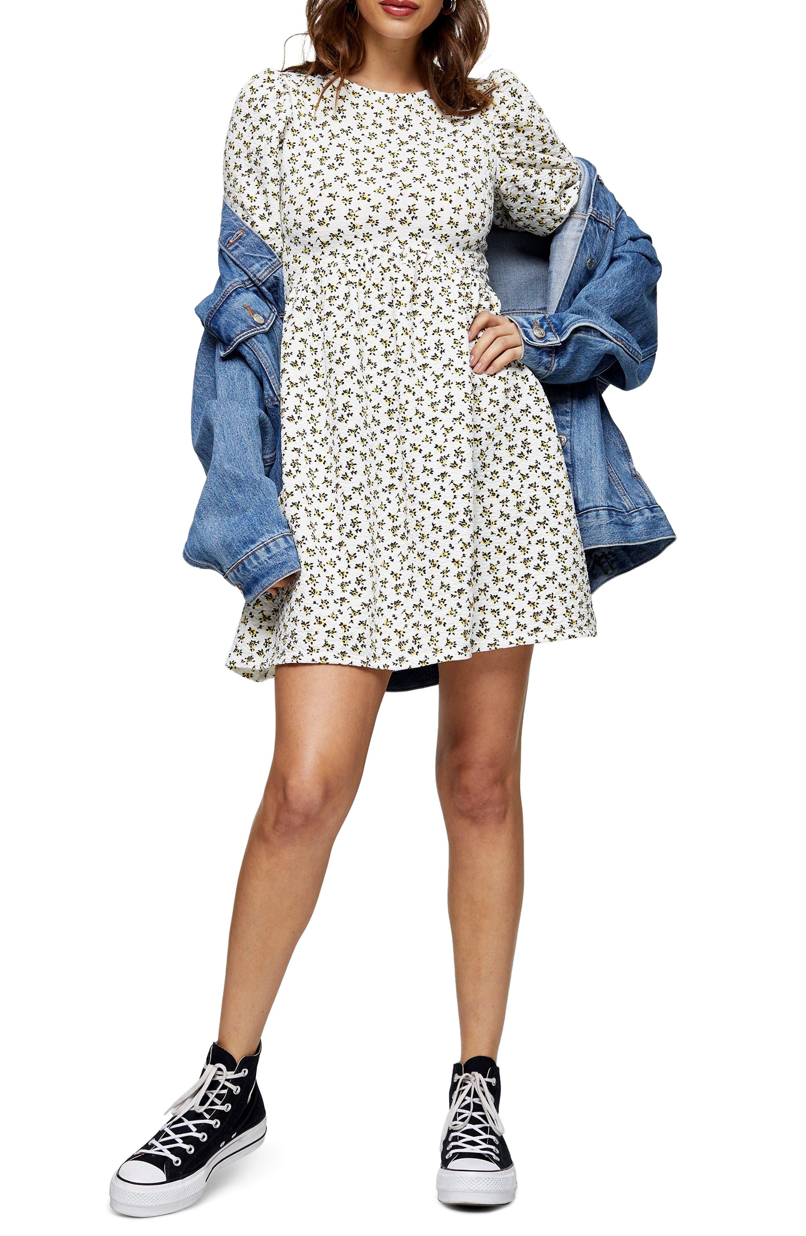 Topshop Ditsy Floral Puff Sleeve Babydoll Minidress (Regular & Petite) | Nordstrom