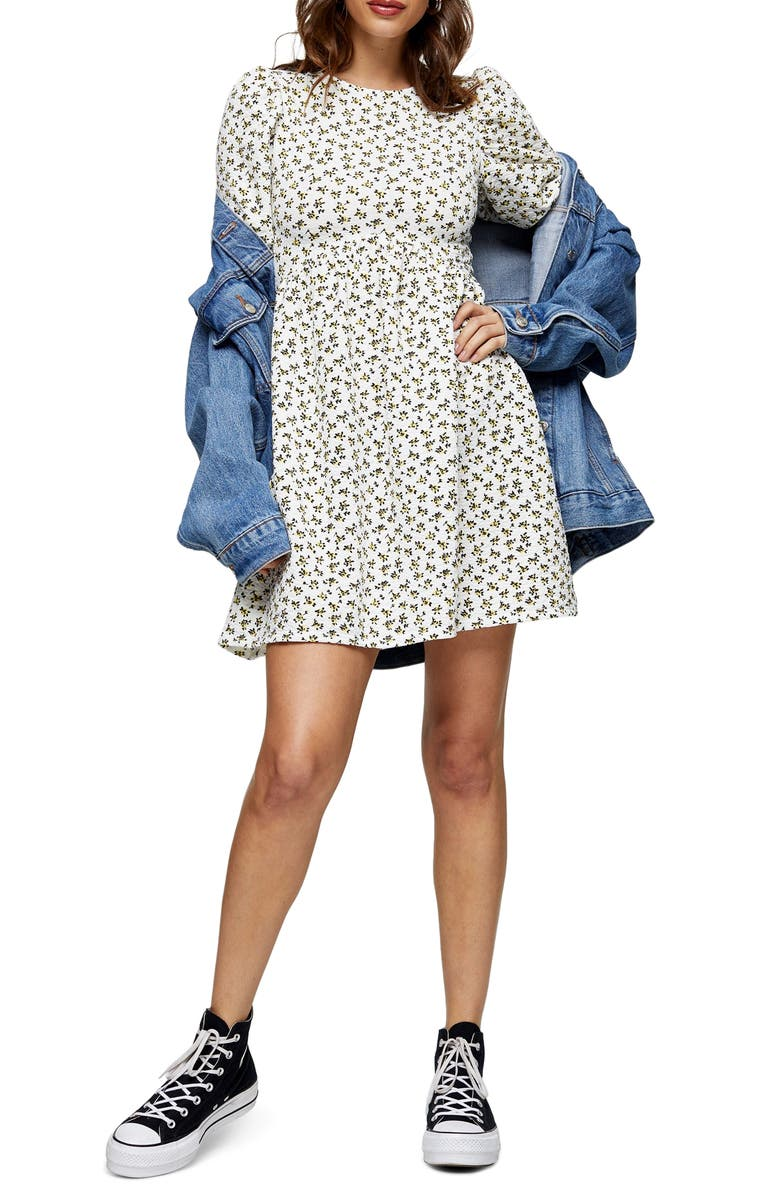 TOPSHOP Ditsy Floral Puff Sleeve Babydoll Minidress, Main, color, WHITE MULTI