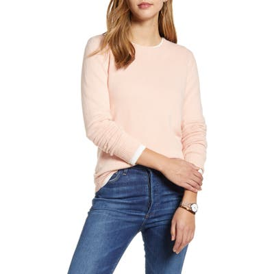 1901 Shoulder Button Cotton & Wool Blend Crewneck Sweater, Pink