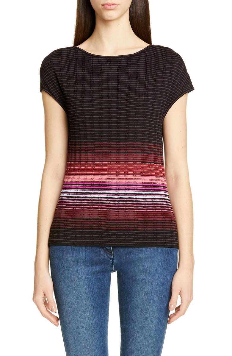 ST. JOHN COLLECTION Engineered Ombré Rib Sweater, Main, color, RAISIN/ RIPE BERRY MULTI