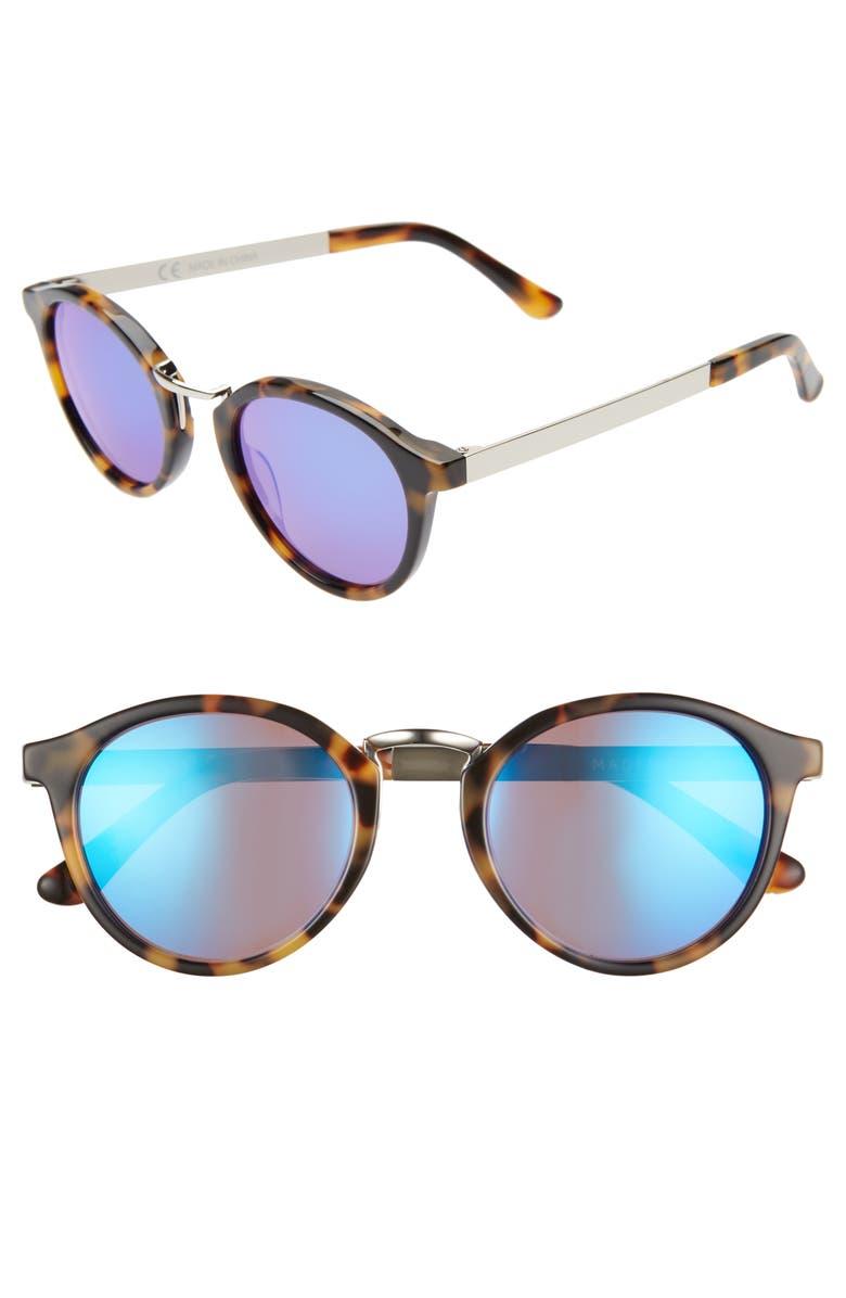MADEWELL Indio 48mm Round Sunglasses, Main, color, DEMI TORTOISE/ FLASH BLUE