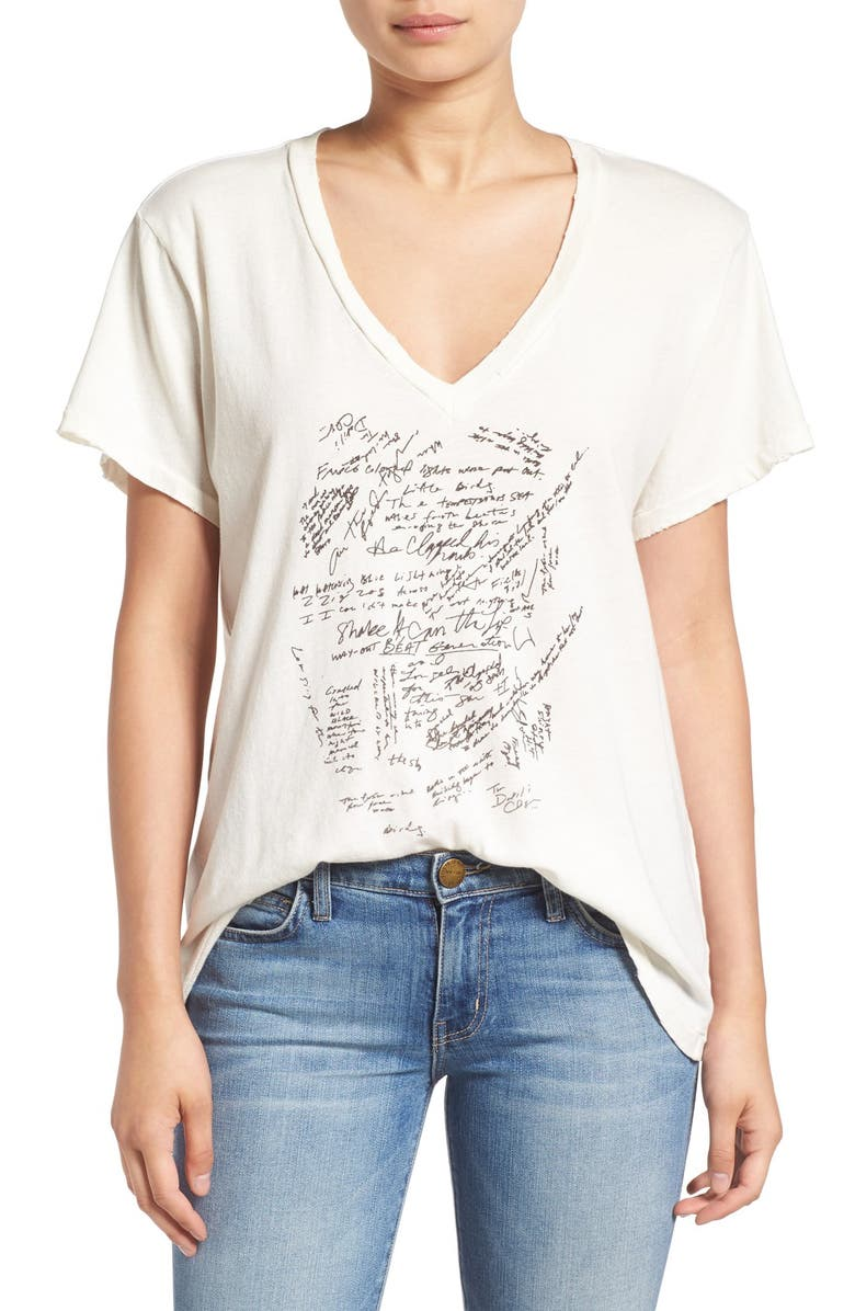 CURRENT/ELLIOTT 'The V-Neck' Graphic Tee, Main, color, 107