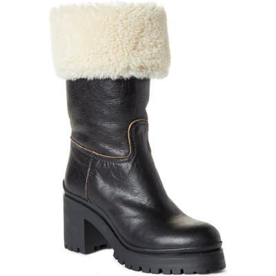 Miu Miu Nevermind Genuine Shearling Cuff Boot - Black