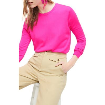 J.crew Margot Crewneck Re-Imagined Wool Sweater, Pink