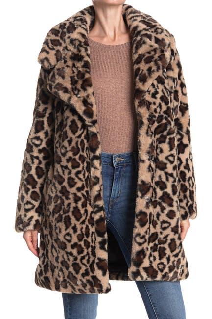 Image of Laundry By Shelli Segal Leopard Print Faux Fur Coat