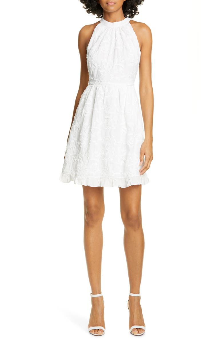 TED BAKER LONDON Lorene Embroidered Skater Minidress, Main, color, WHITE