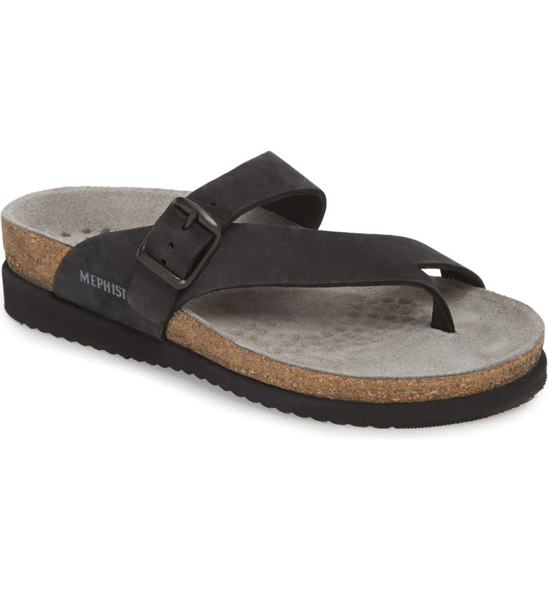 MEPHISTO 'Helen' Sandal, Main, color, BLACK NUBUCK