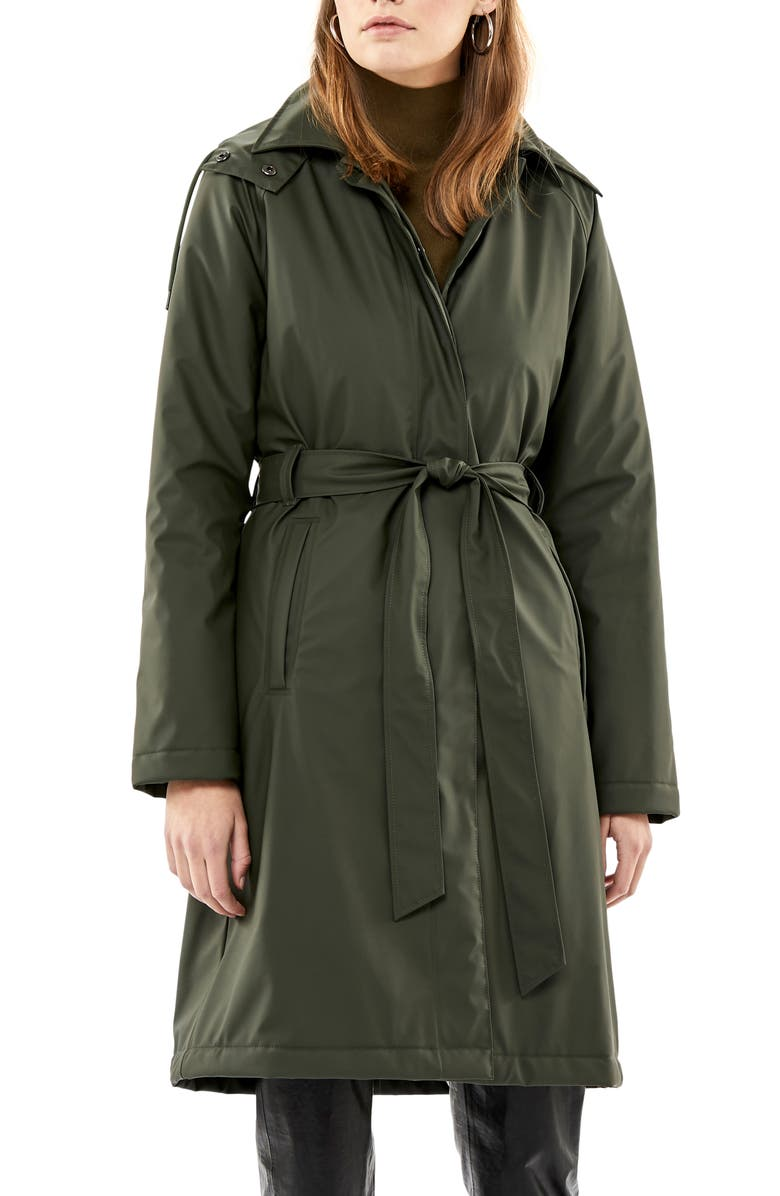 RAINS Waterproof Trench Coat with Detectable Hood, Main, color, GREEN