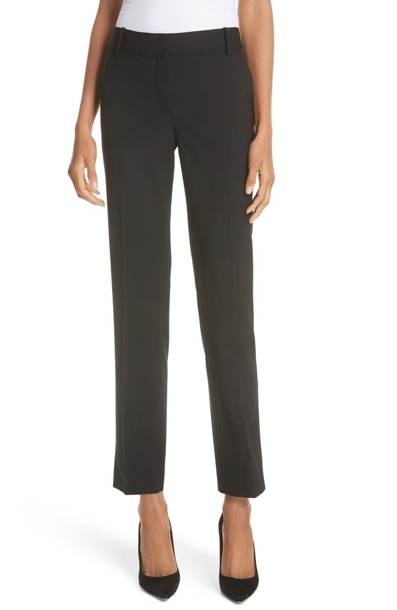 THEORY Straight Leg Stretch Wool Trousers, Main, color, BLACK