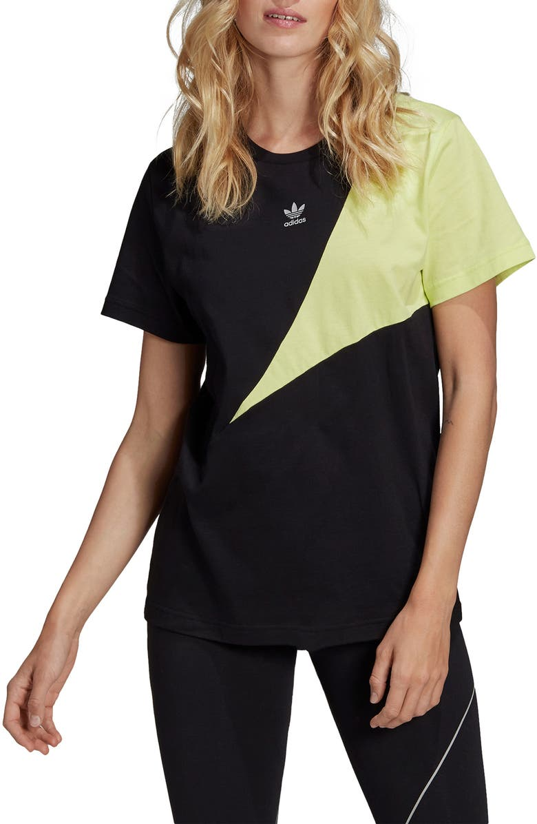 ADIDAS ORIGINALS Boyfriend Tee, Main, color, BLK/REFLECT SLV/SEMI-FRZN YLW