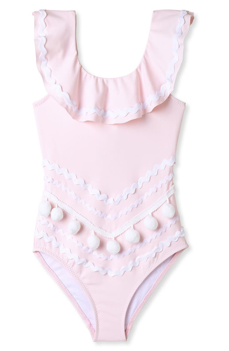 STELLA COVE Rickrack & Pompom One-Piece Swimsuit, Main, color, PINK