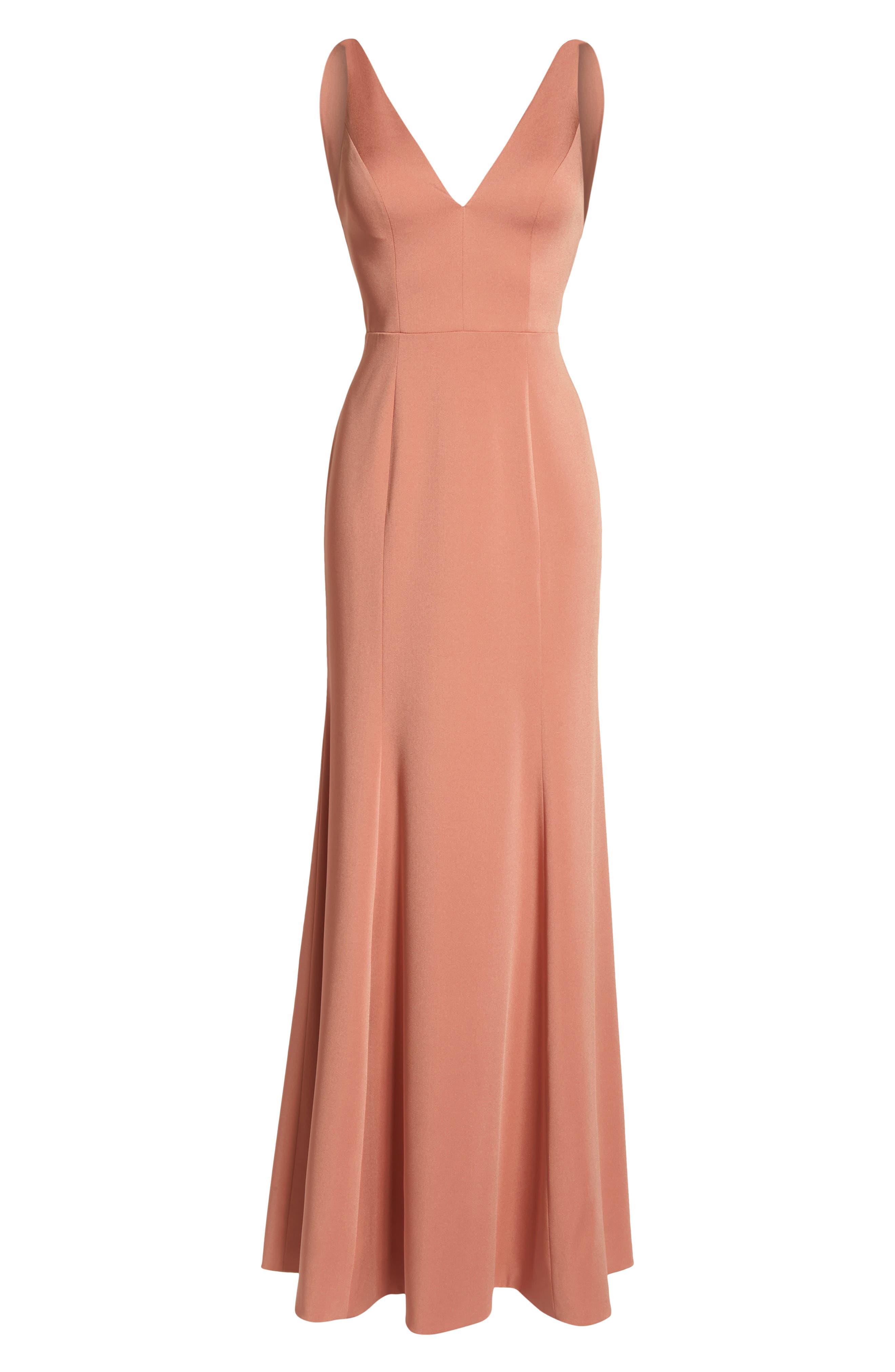 ,                             Jade Luxe Crepe V-Neck Gown,                             Alternate thumbnail 7, color,                             SEDONA SUNSET