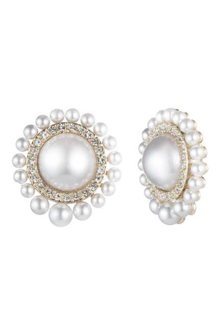 Image of Carolee Imitation Pearl CZ Accent Halo Clip-On Stud Earrings