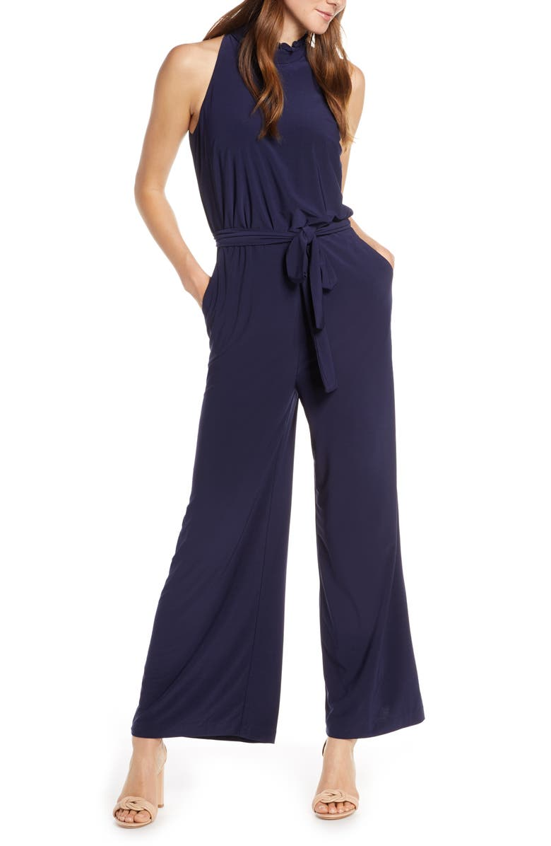 VINCE CAMUTO Ruffle Collar Jumpsuit, Main, color, NAVY