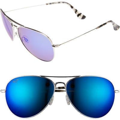 Maui Jim Mavericks 61Mm Polarizedplus2 Aviator Sunglasses - Silver/ Blue Hawaii