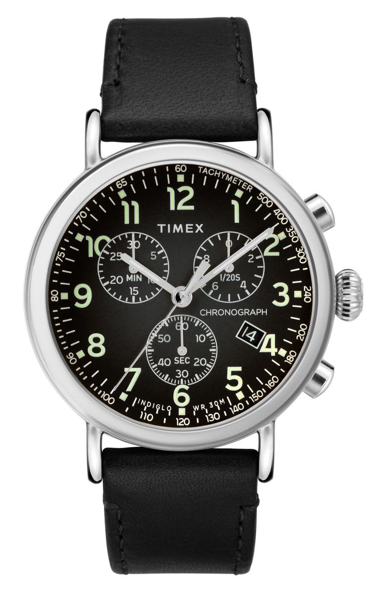 TIMEX<SUP>®</SUP> Standard Chronograph Leather Strap Watch, 41mm, Main, color, 001
