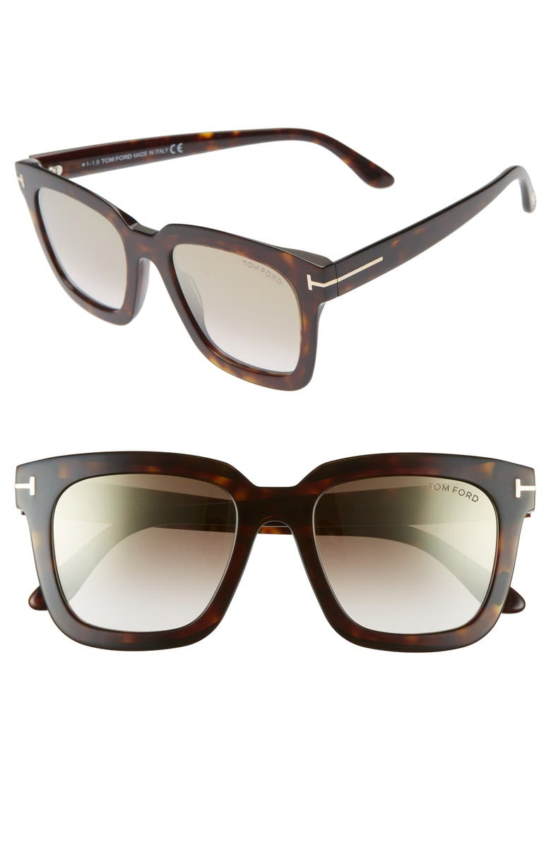TOM FORD Sari 52mm Square Sunglasses, Main, color, DARK HAVANA/ GRADIENT BROWN