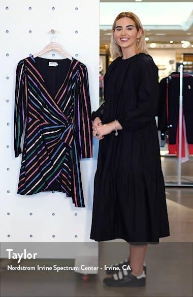 Magnolia Metallic Stripe Long Sleeve Wrap Dress, sales video thumbnail