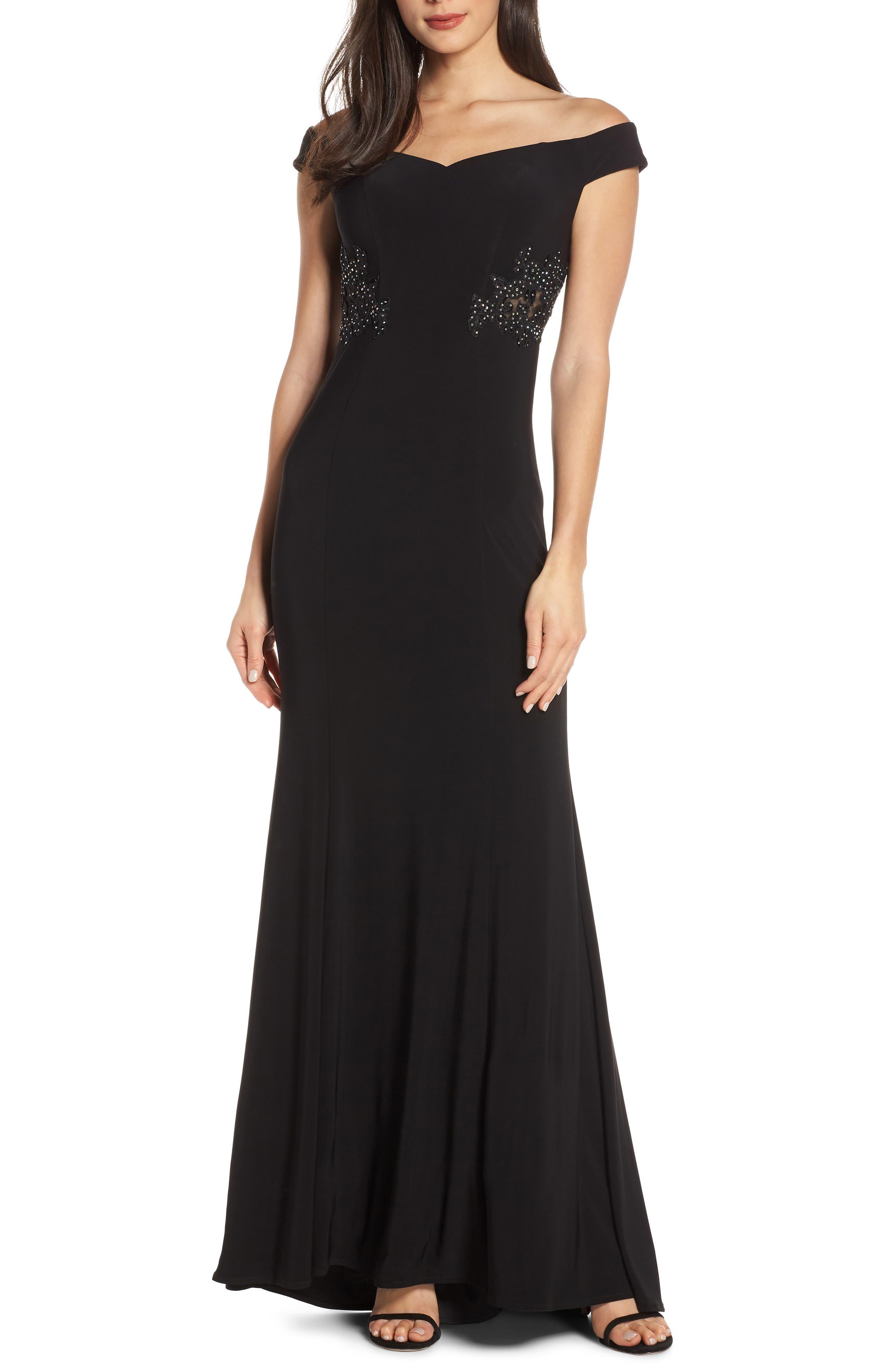 Blondie Nites Off The Shoulder Embellished Waist Evening Dress, Black