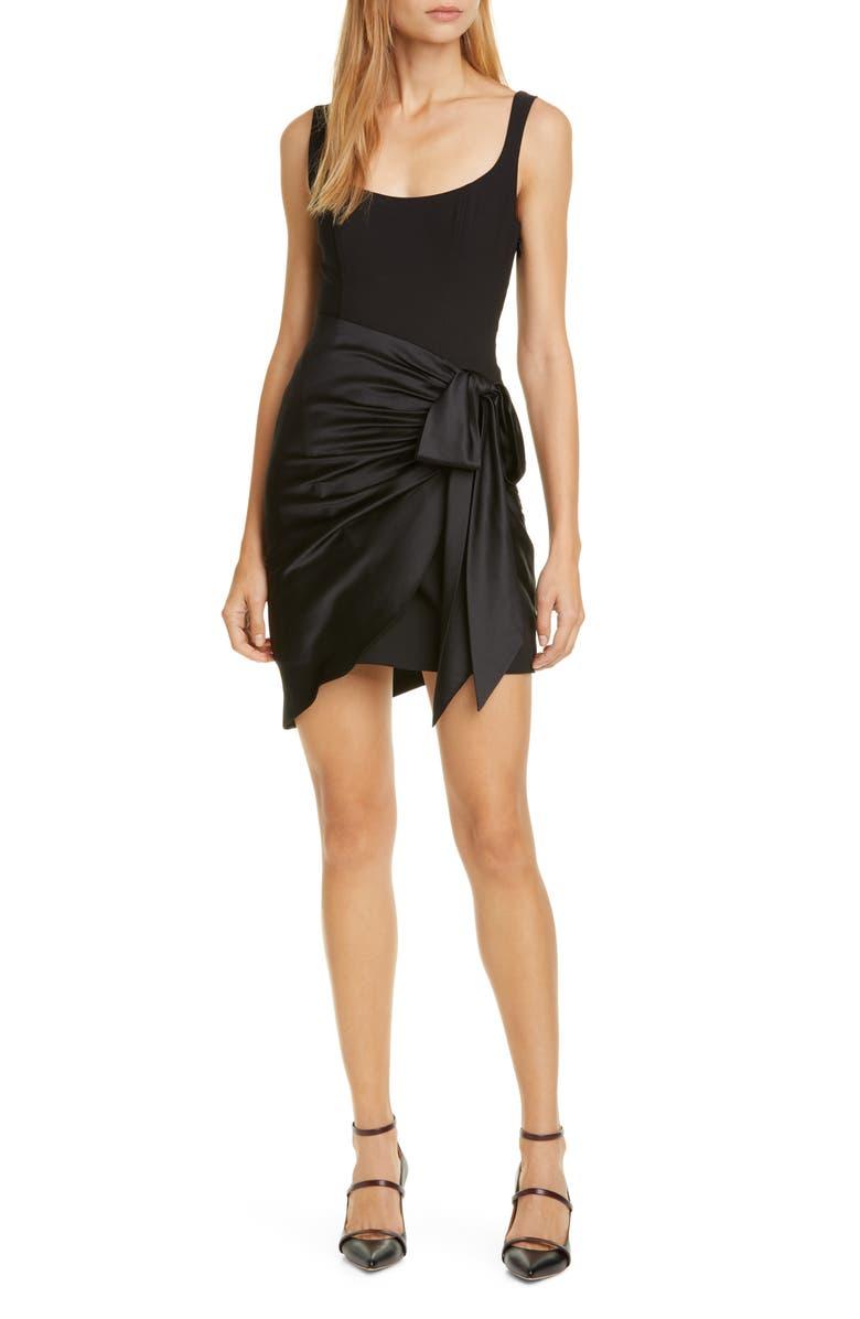 CINQ A SEPT Waverly Tie Waist Minidress, Main, color, BLACK