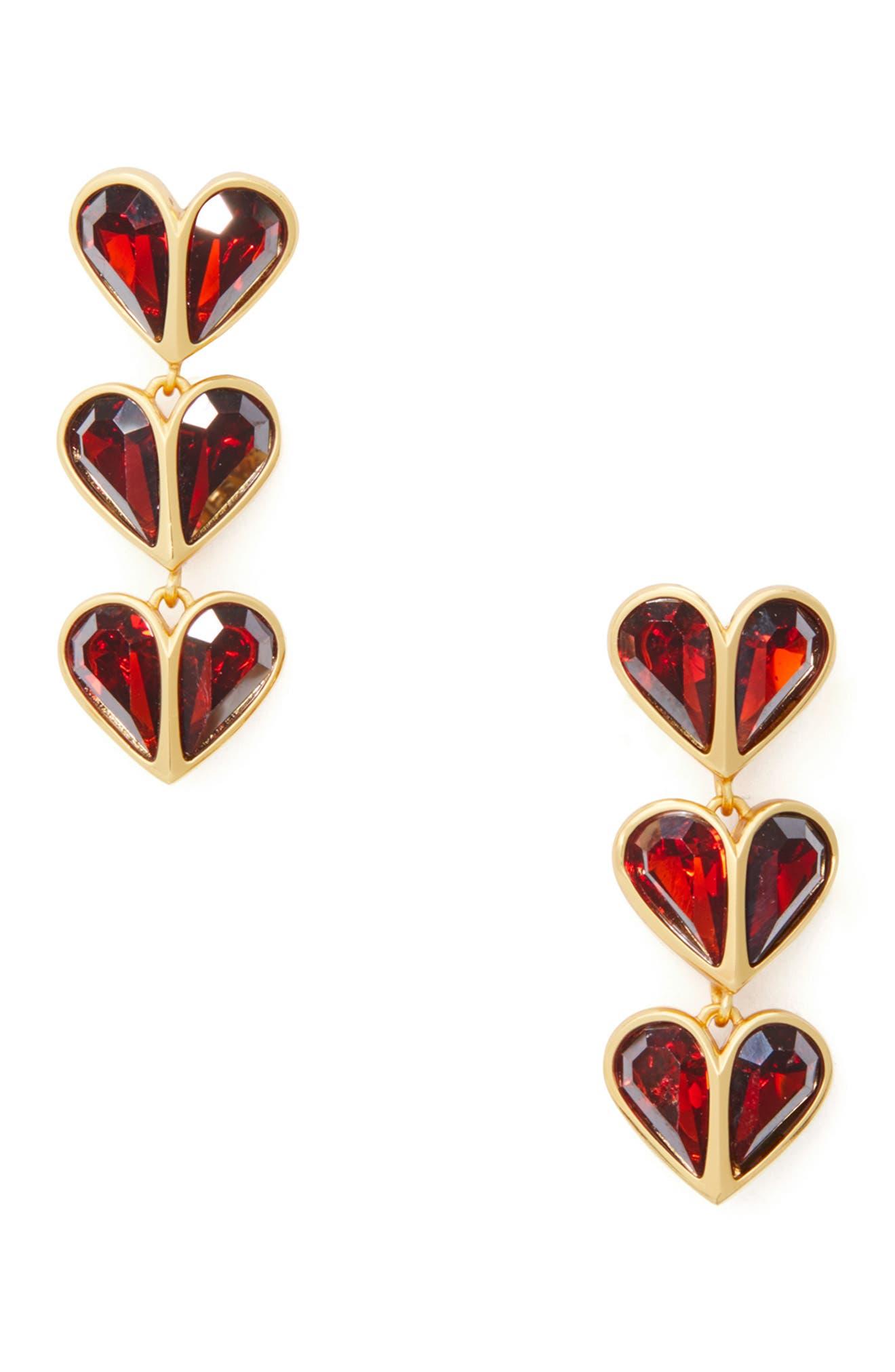Image of kate spade new york Red CZ Heart Drop Earrings
