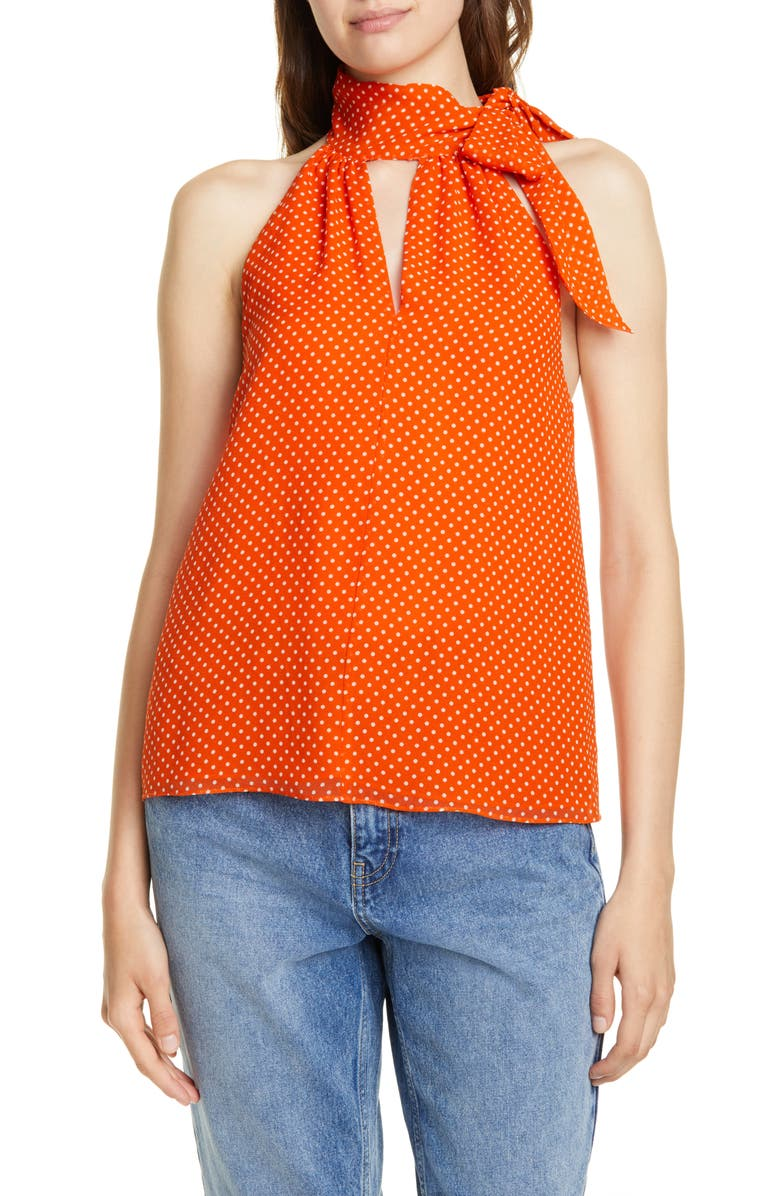 JOIE Dalman Tie Neck Silk Tank, Main, color, WARM TERRACOTTA