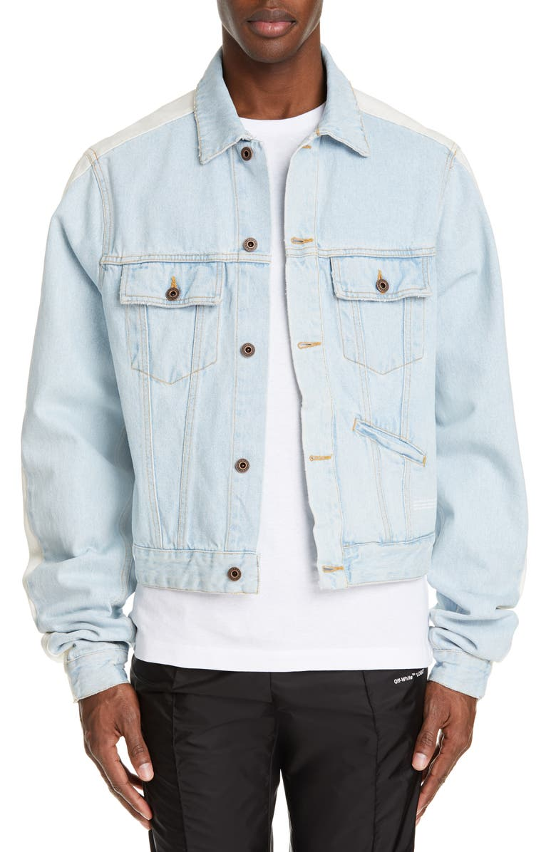 OFF-WHITE Exaggerated Sleeve Denim Jacket, Main, color, BLEACH
