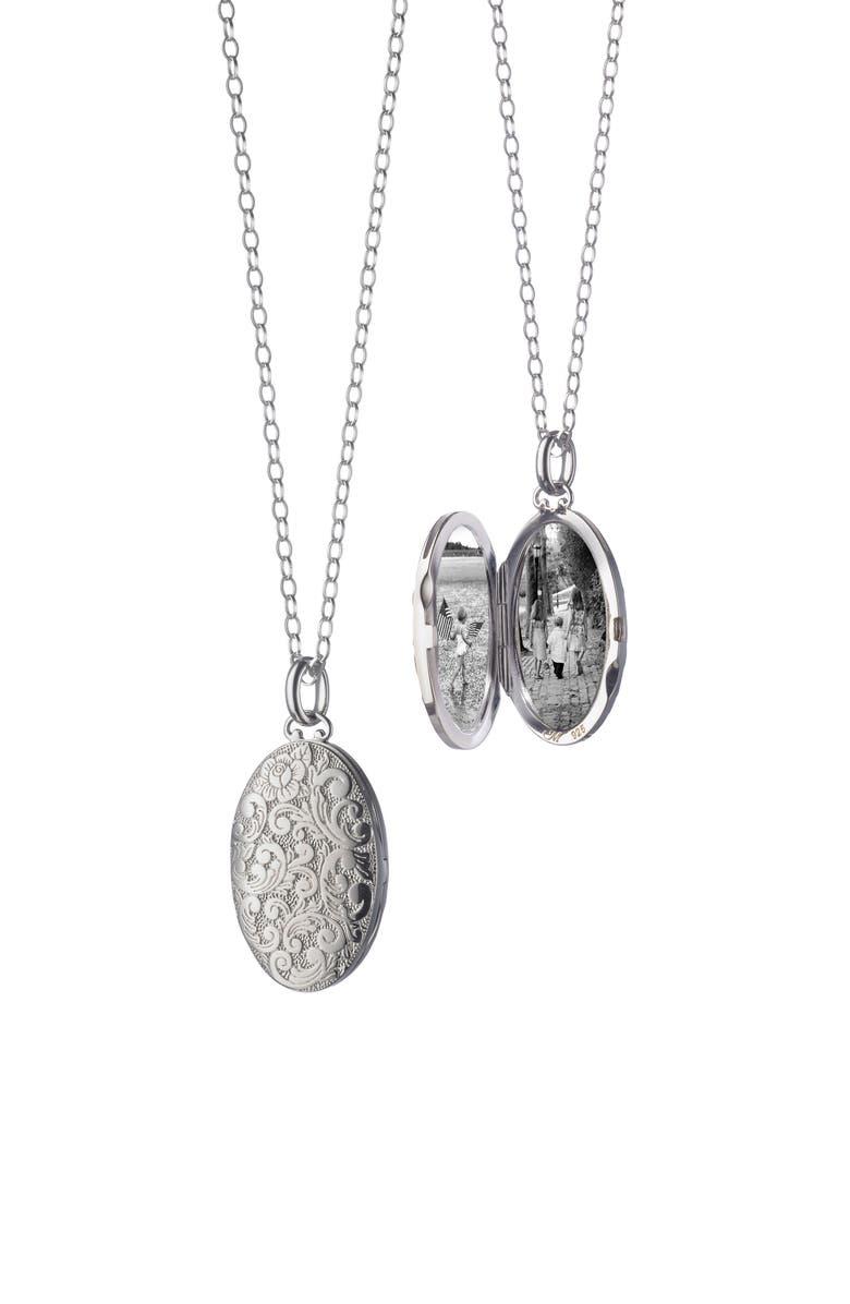MONICA RICH KOSANN Floral Pattern Locket Necklace, Main, color, STERLING SILVER