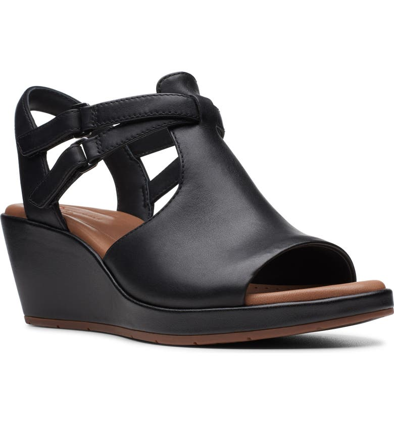 CLARKS<SUP>®</SUP> Un Plaza Way Wedge Sandal, Main, color, BLACK LEATHER