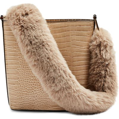 Topshop Tess Faux Fur Handle Tote Bag - Beige