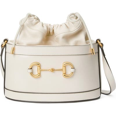 Gucci Small 1955 Horsebit Leather Bucket Bag - White