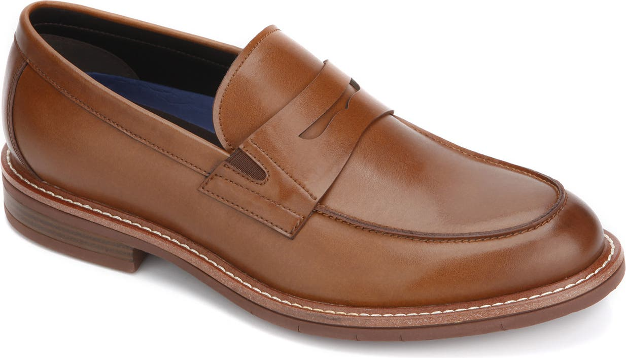 NWT MSRP $135 REACTION KENNETH COLE PALM PENNY SLIP ONS DARK COGNAC//NAVY SZ 11D