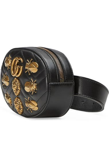 1a41a20e39cb Gucci GG Marmont 2.0 Animal Stud Matelassé Leather Belt Bag   Nordstrom