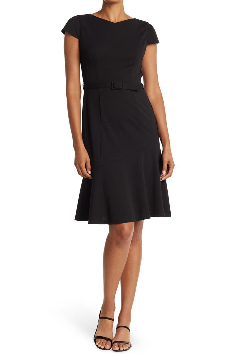 DONNA MORGAN Belted Cap Sleeve Dress, Main, color, BLACK